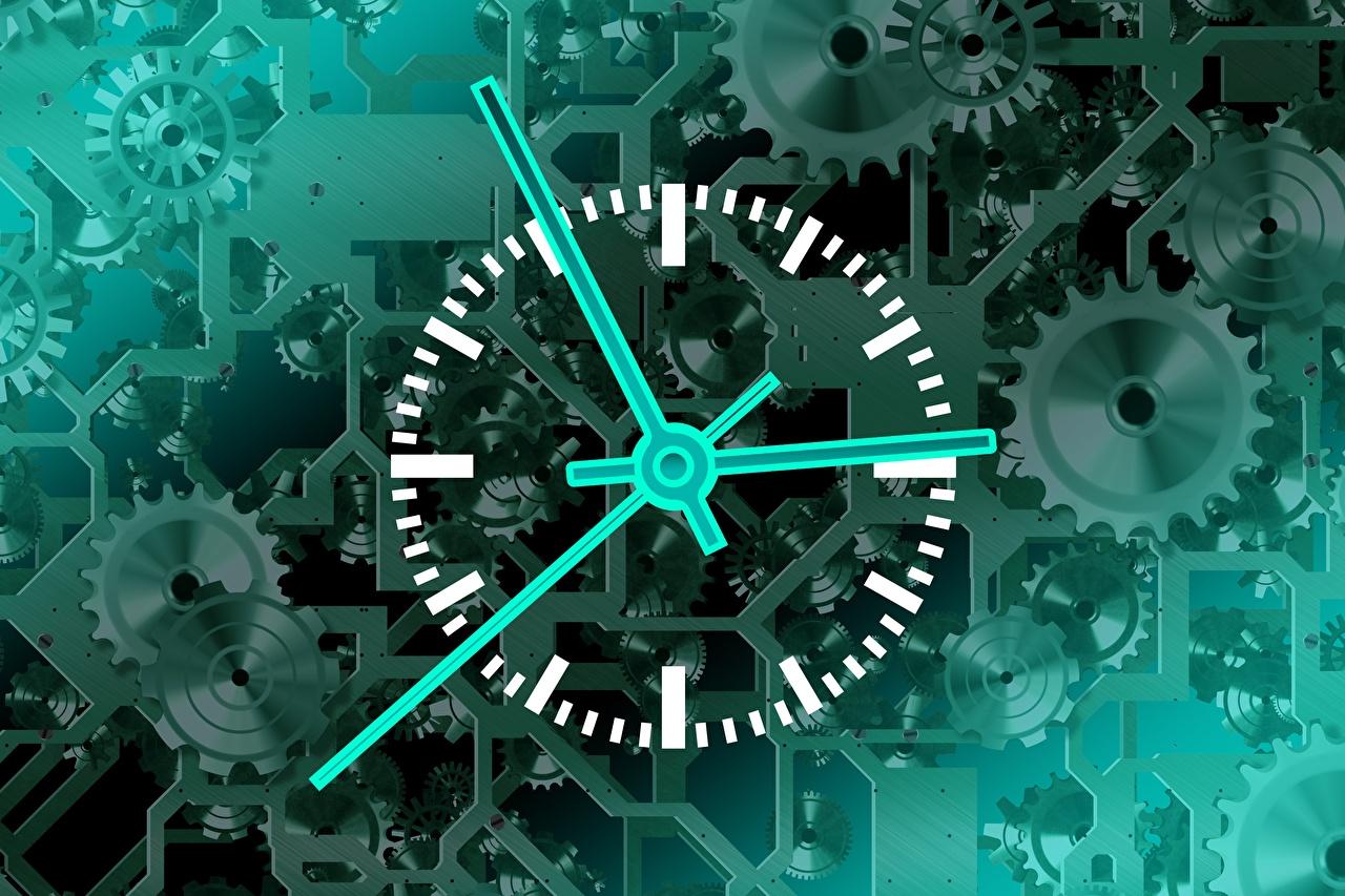 Foto Mechanismus zahnräder Uhr Zifferblatt Mechanik Zahnrad