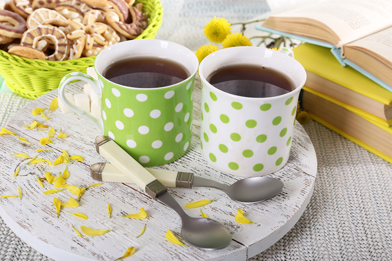 Pictures Tea Two Petals Cup Food Spoon Drinks 2 drink