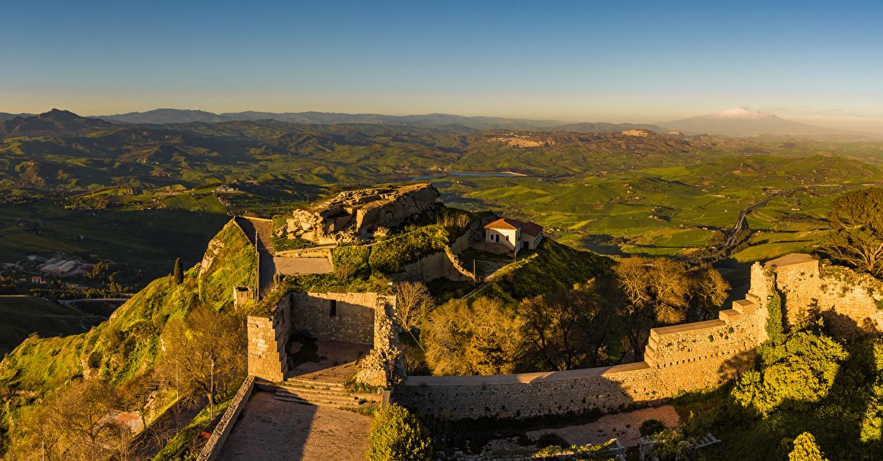 Sfondi Sicilia Italia Enna Natura Castello Rovine colline La collina