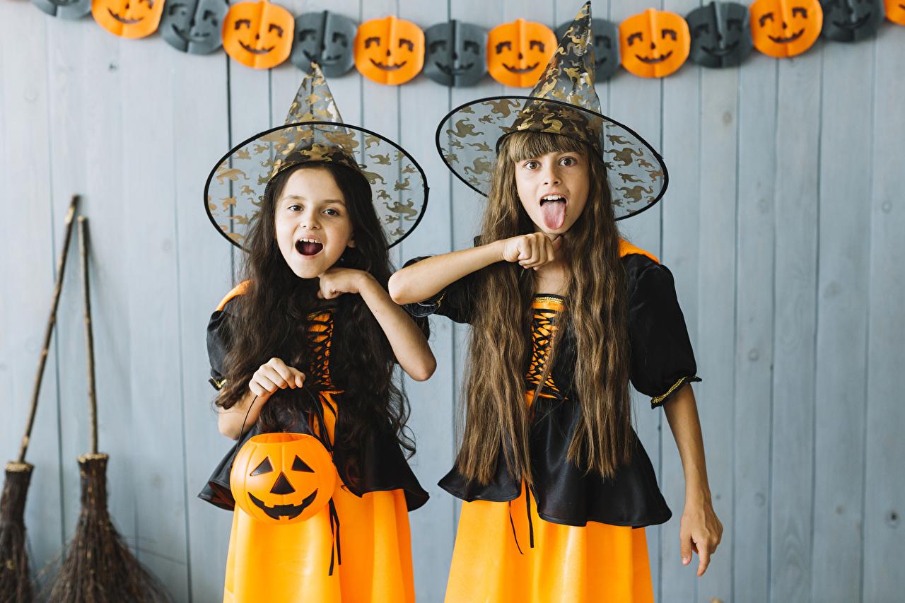 ,万圣夜,南瓜,女巫,小女孩,2 兩,制服,帽子,手,舌,儿童,