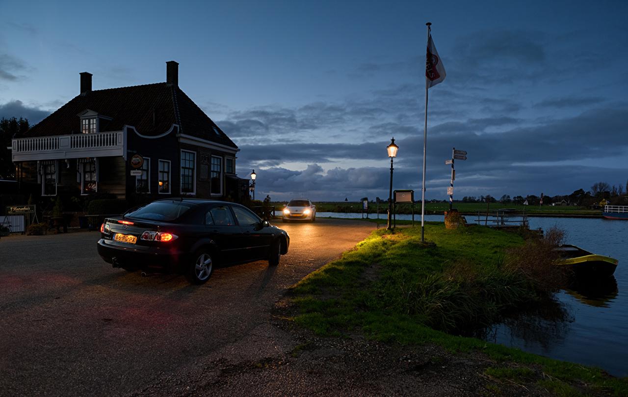Desktop Hintergrundbilder Niederlande Spijkerboor Himmel Herrenhaus Nacht Küste Städte Gebäude Eigenheim Haus