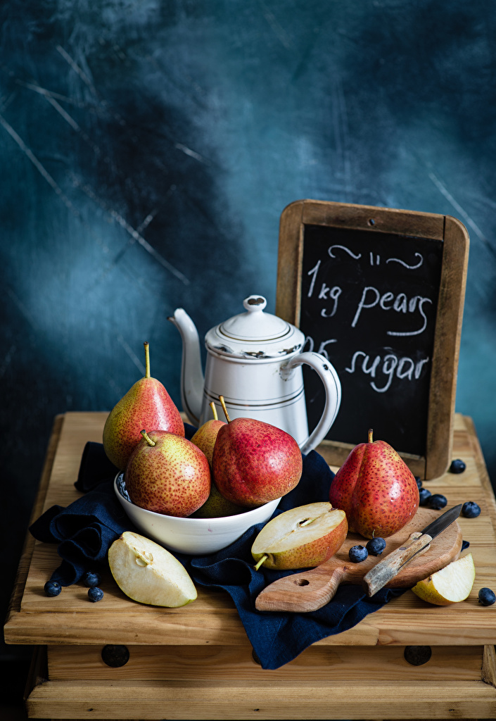 Image Knife Pears pitcher Blueberries Food Cutting board Still-life  for Mobile phone jugs Jug container