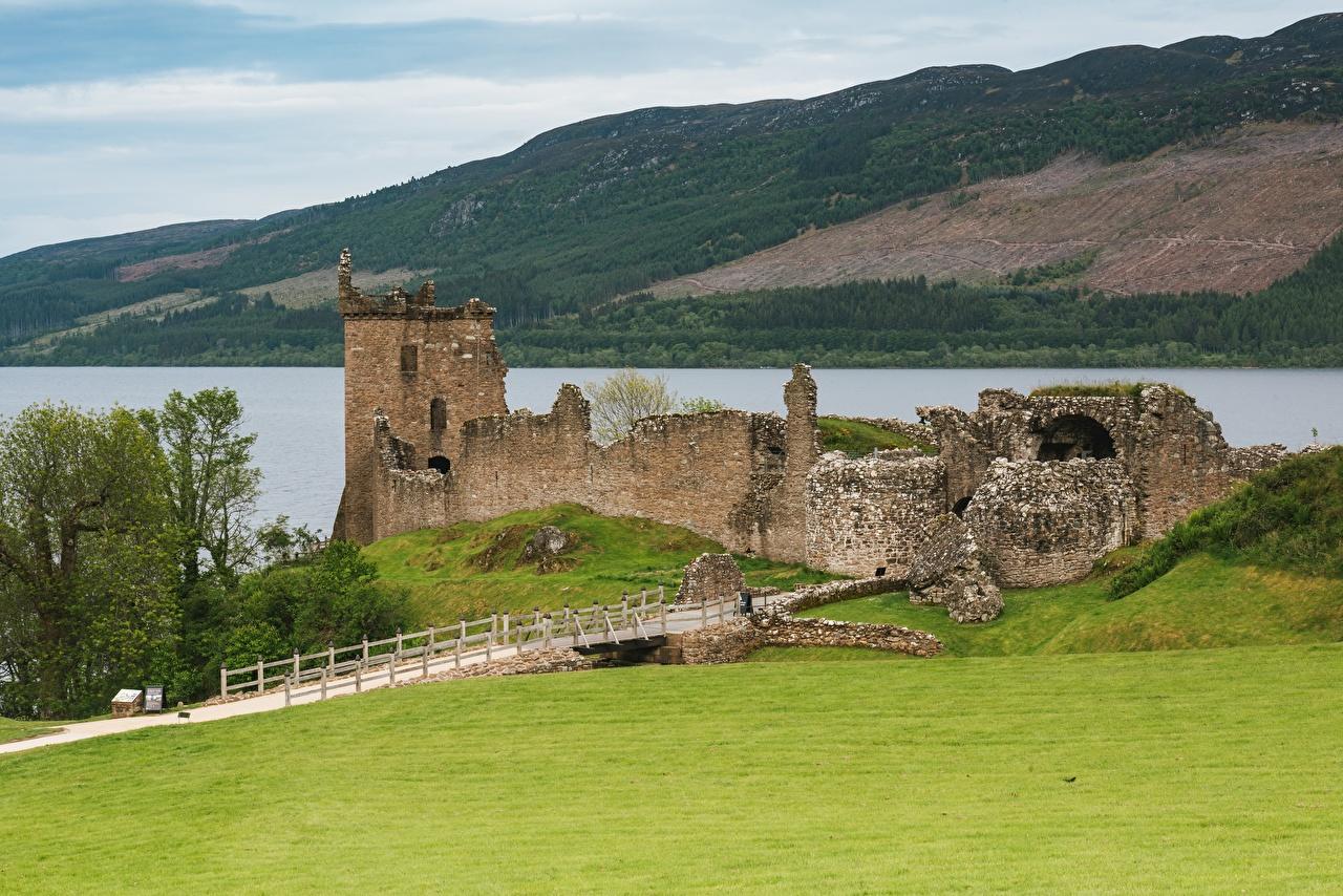 Desktop Wallpapers Scotland Loch Ness Nature Castles Lake Ruins Grass castle