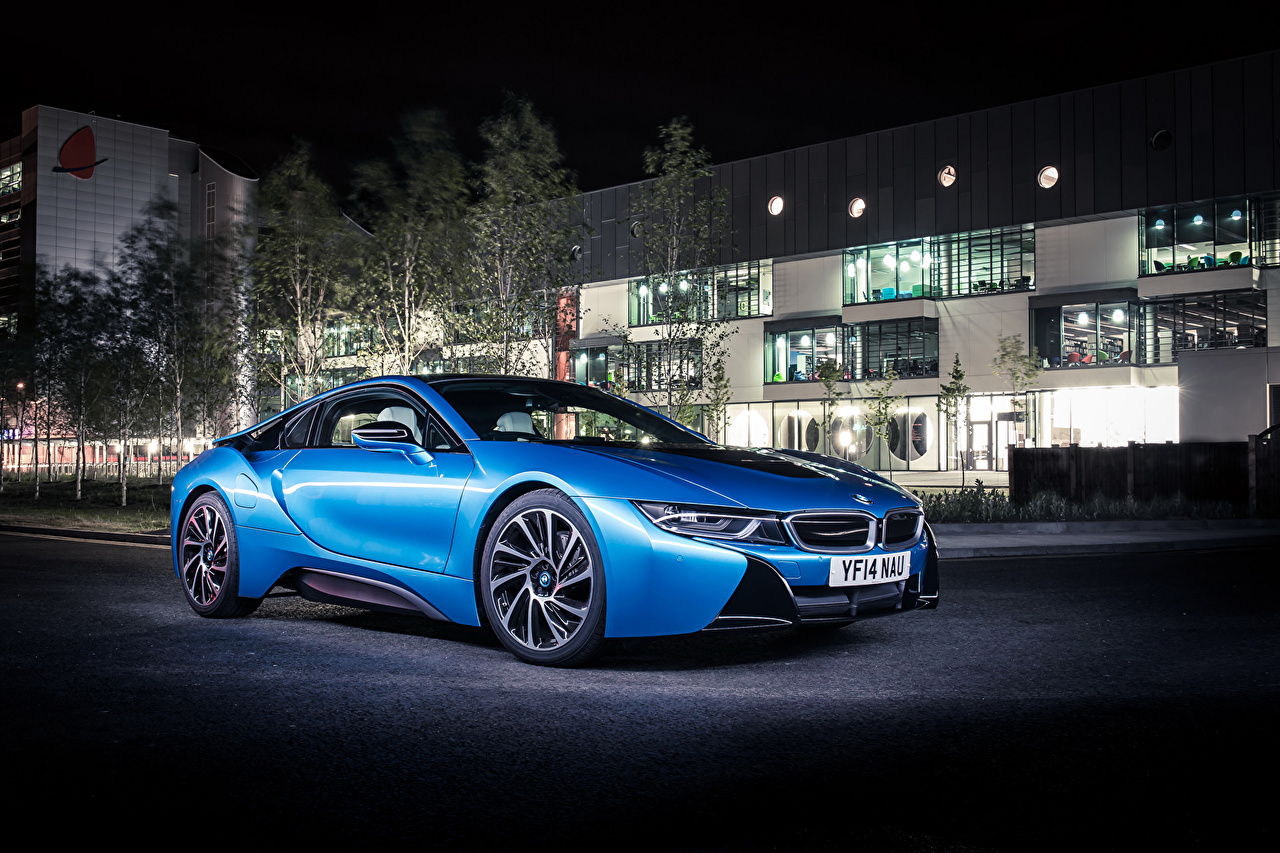 Photos BMW 2014 i8 Light Blue night time automobile Houses auto Cars Night Building