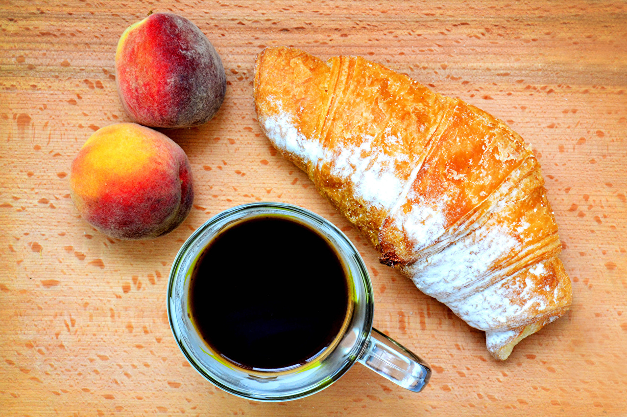 Pictures Coffee Croissant Powdered sugar Peaches Cup Food
