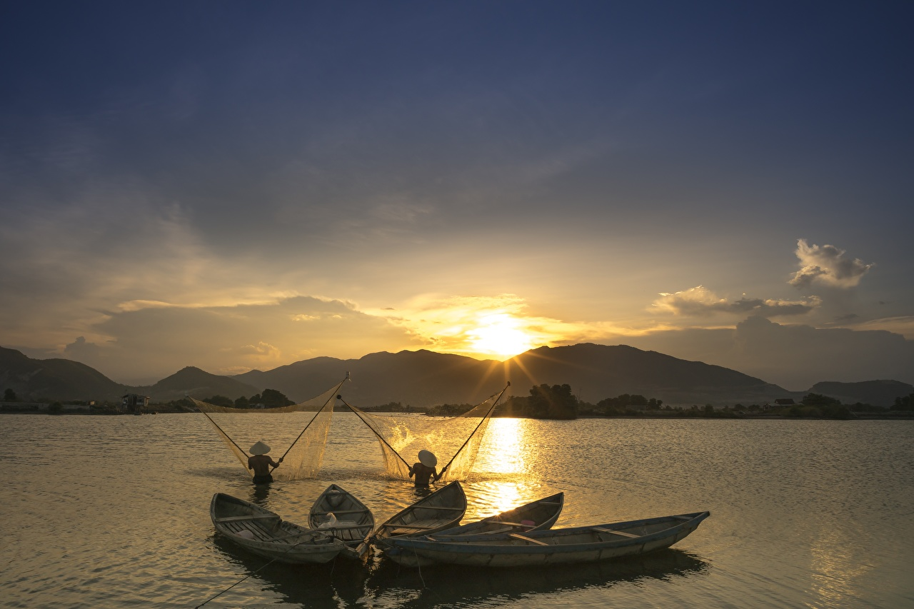 Picture Nature Fishing Asian Sunrises and sunsets Boats Asiatic sunrise and sunset
