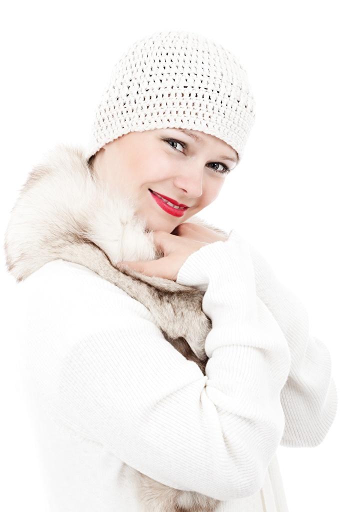 Fotos von Lächeln Mütze junge frau Sweatshirt Hand Blick Weißer hintergrund  für Handy Mädchens junge Frauen Starren