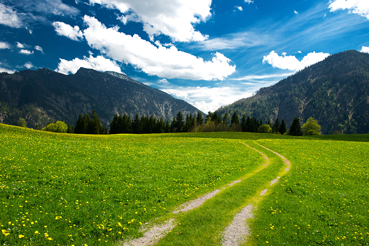 Desktop Wallpapers Bavaria Alps Germany Nature Mountains Sky Roads Meadow landscape photography Grass Clouds mountain Scenery Grasslands