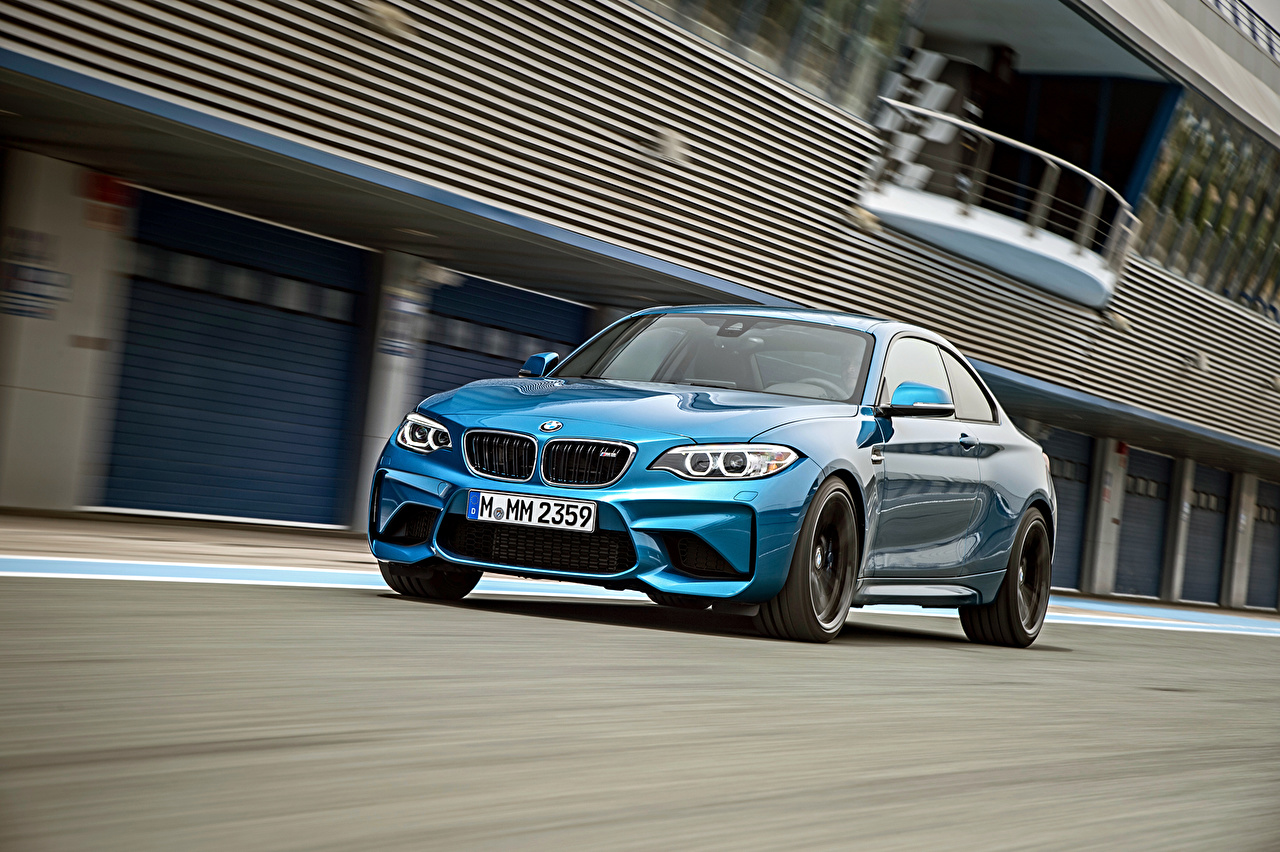 Image BMW M2 F87 Light Blue at speed automobile moving riding Motion driving Cars auto