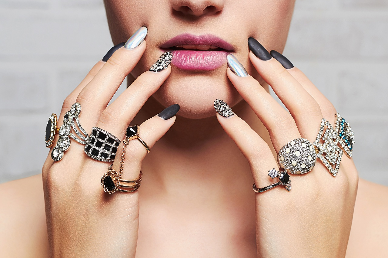 Wallpaper Manicure Brilliant Face female Lips jewelry ring Fingers Jewelry diamond cut Girls young woman Ring