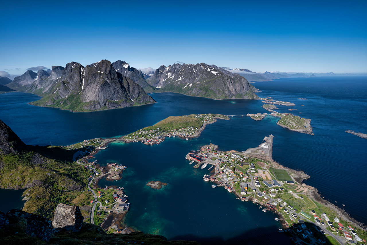 Desktop Wallpapers Lofoten Norway Reine Nature mountain From above Mountains