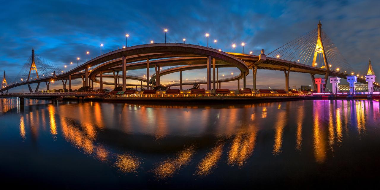 Desktop Wallpapers Cities Bangkok Thailand King's Bridge Bridges panoramic Night bridge Panorama night time