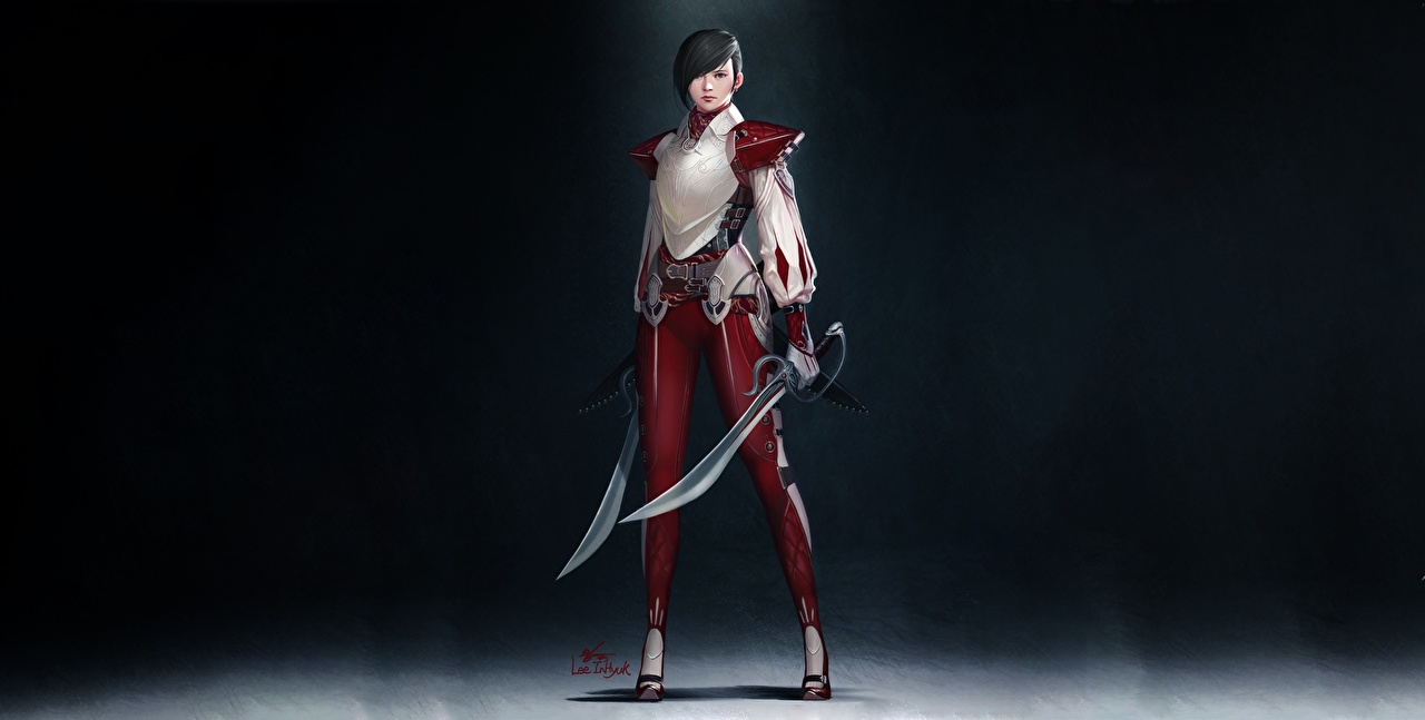 壁紙 ウォリアーズ Inhyuk Lee Short Hair And Two Swords サーベル ファンタジー 少女 ダウンロード 写真