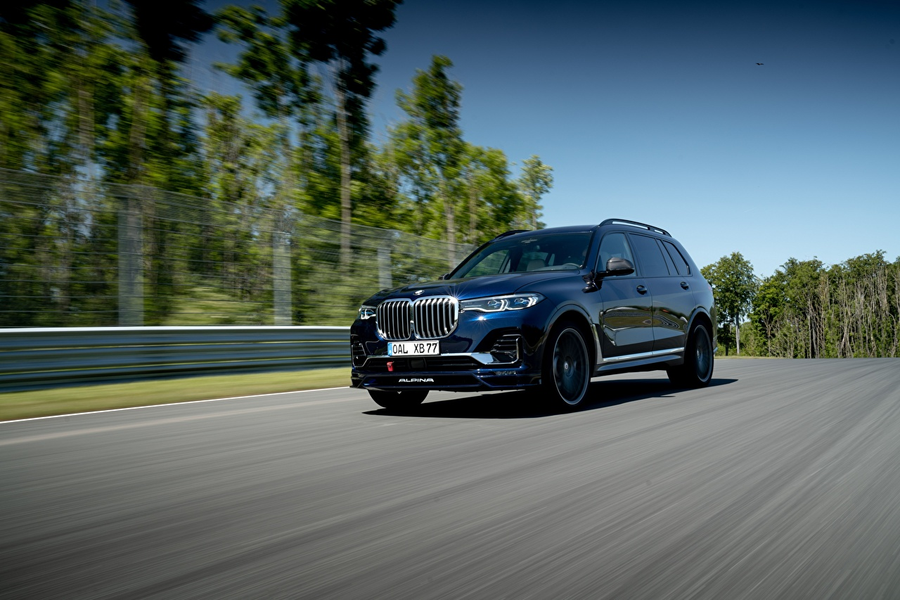 Picture BMW Crossover Alpina XB7 Worldwide, G07, 2020 Roads driving Metallic automobile CUV moving riding Motion at speed Cars auto