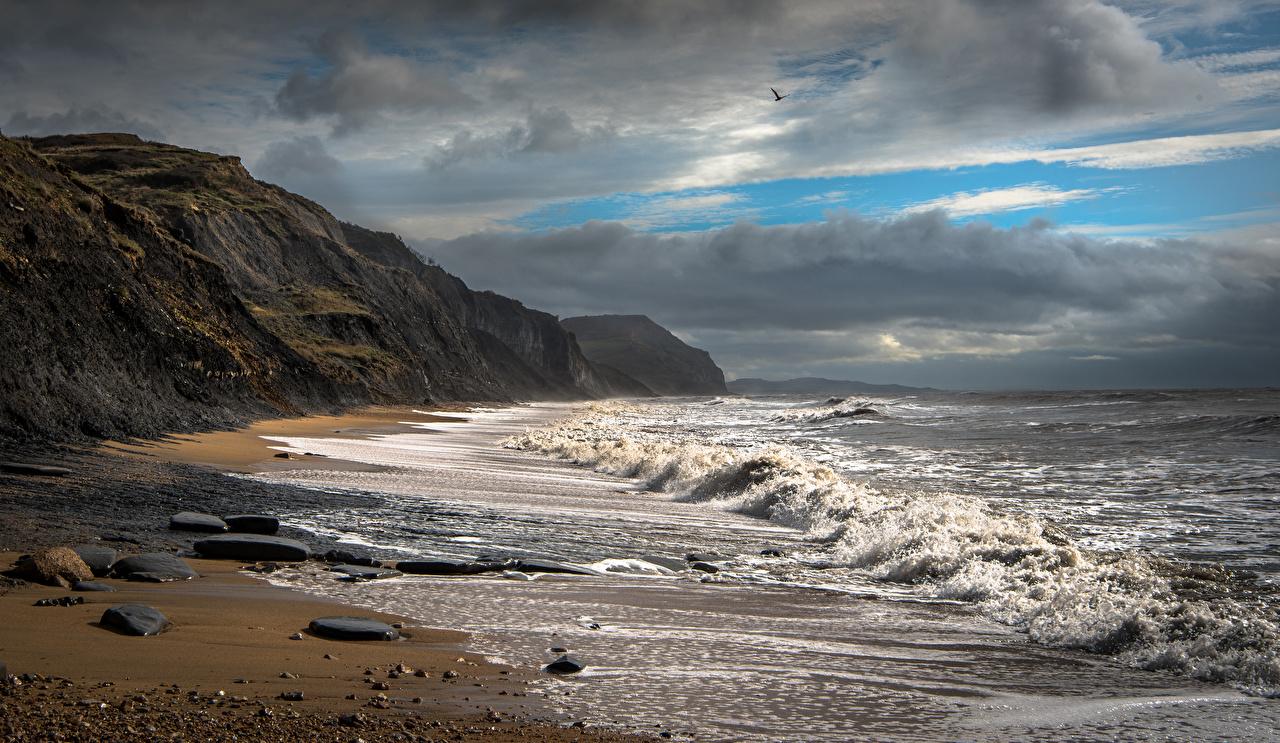 Photo England Charmouth Beach Nature Waves Coast Clouds