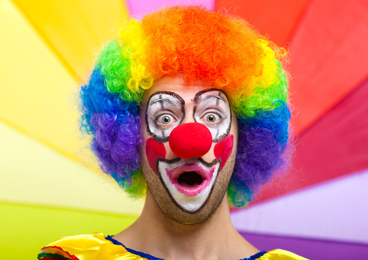 Fotos Mann Staunen Schminke Clown Haar Make Up Erstaunen Überraschung