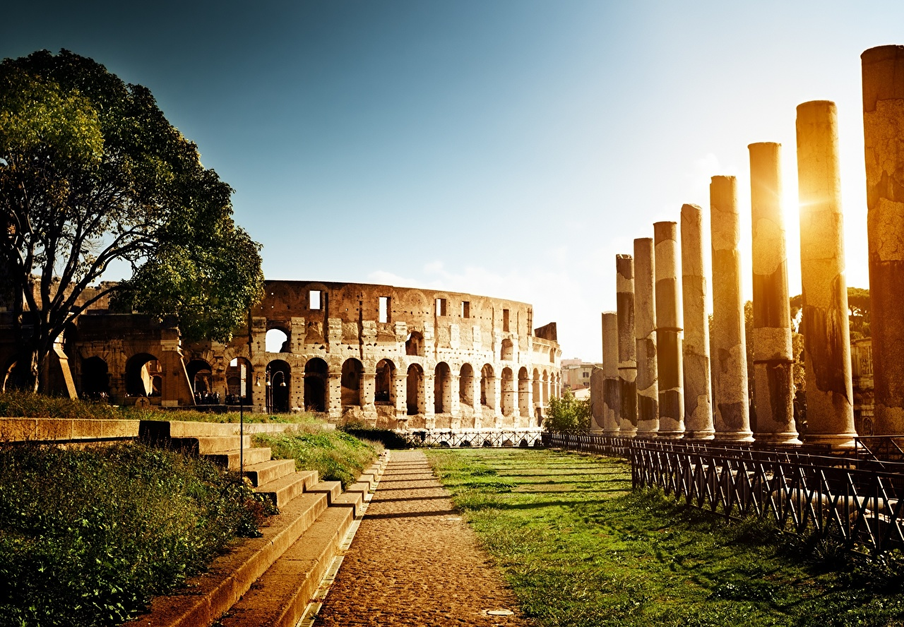 Desktop Wallpapers Rome Colosseum Italy Monuments Stairs Ruins Sunrises and sunsets Grass Trees Cities stairway staircase sunrise and sunset