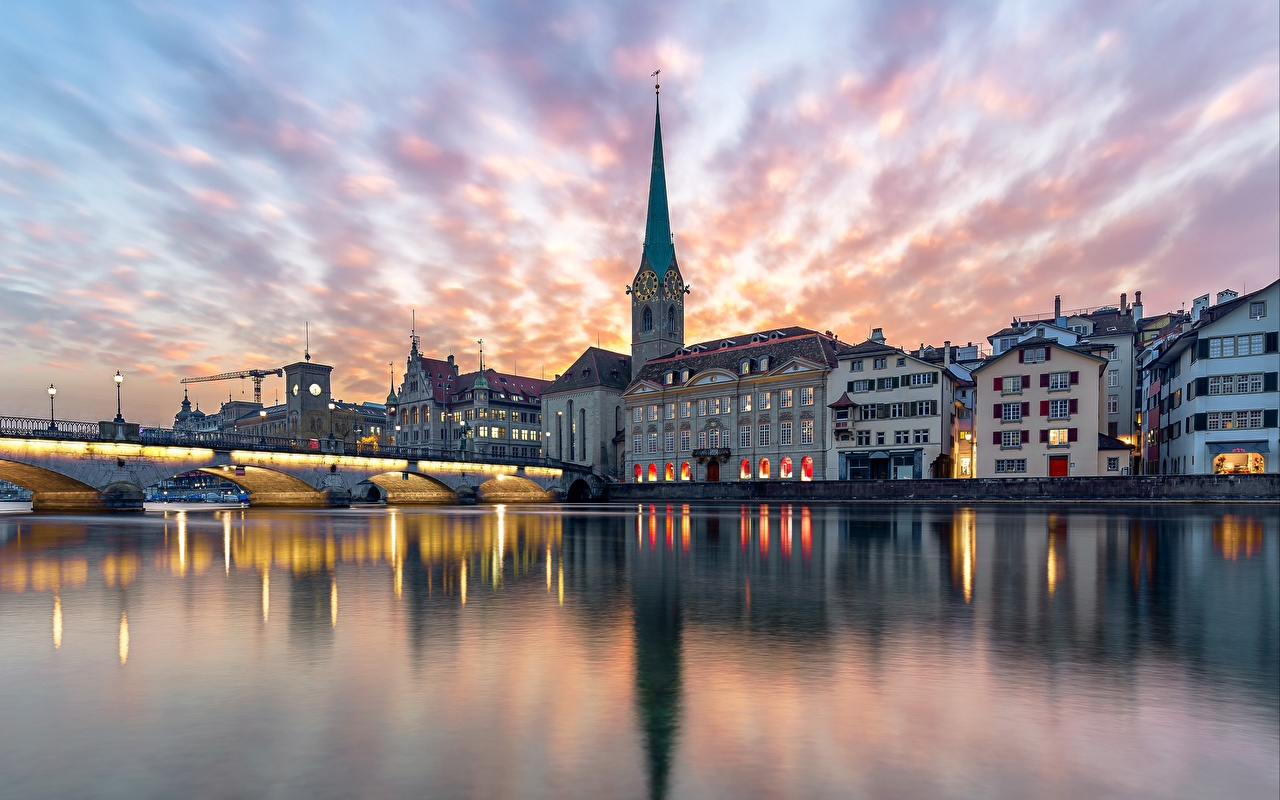 Image Zurich Church Switzerland Bridges reflected Rivers Evening Cities Building bridge Reflection river Houses