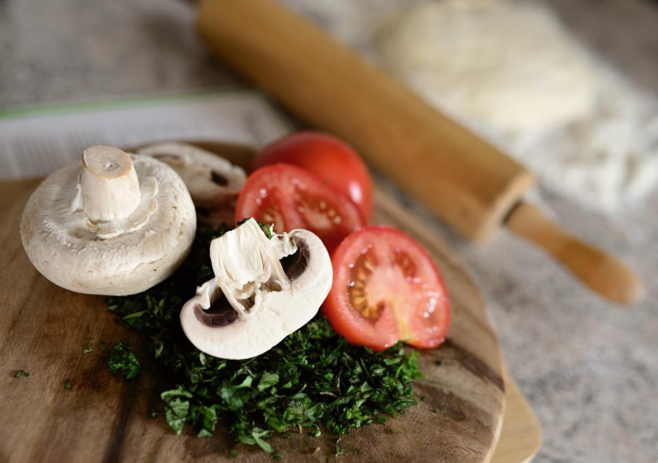 Desktop Hintergrundbilder unscharfer Hintergrund Zucht-Champignon Tomate Pilze Geschnitten Lebensmittel Schneidebrett Bokeh Tomaten das Essen geschnittene geschnittenes