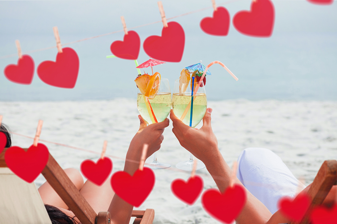 Picture Valentine's Day Heart 2 Food Hands Stemware Drinks Two drink
