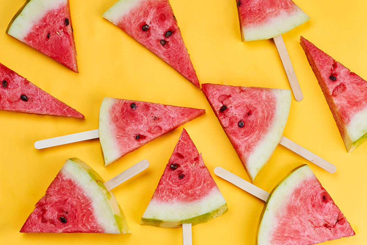 Pictures Piece Watermelons Food Colored background pieces