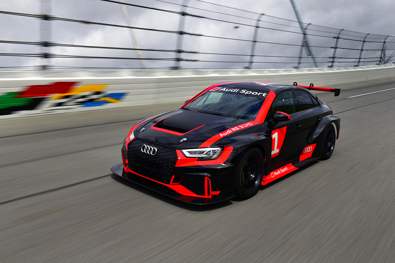 Photo Audi Tuning 2016-17 RS 3 LMS (8V) Black driving automobile moving riding Motion at speed Cars auto
