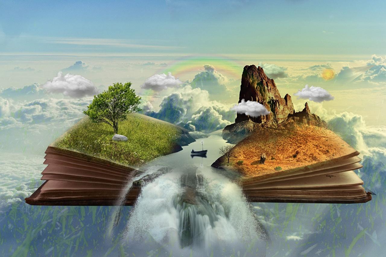 Bilder von Phantasmagoria Felsen Fantasy Wasserfall Boot Gras Bücher Wolke Bäume Buch