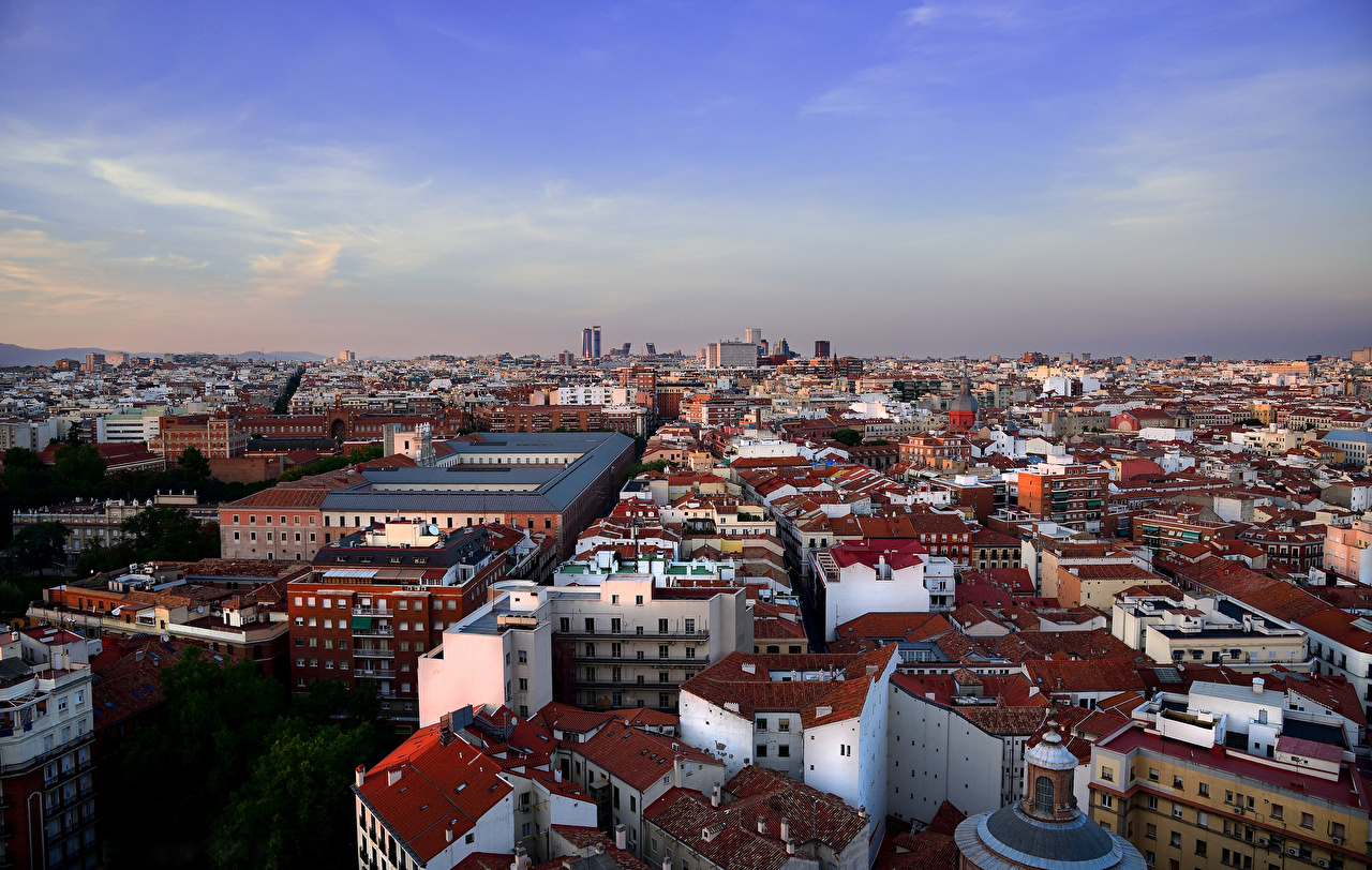 Photo Madrid Spain From above Cities Building Houses