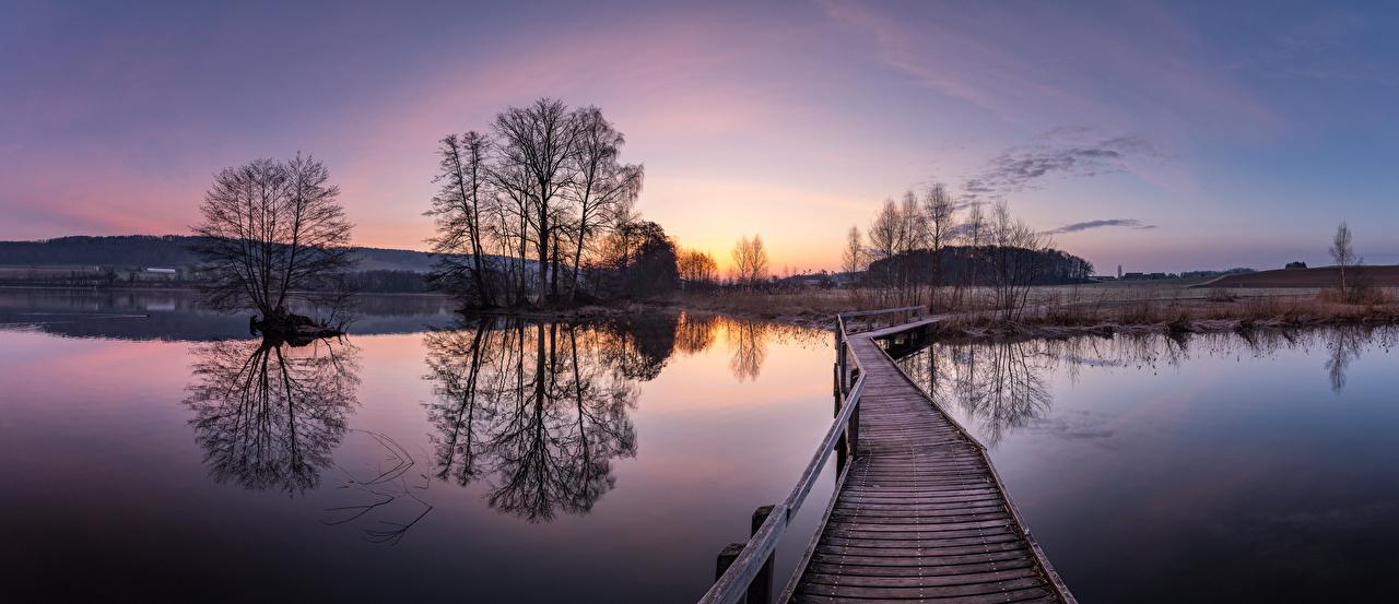 Pictures Switzerland panoramic Nature Bridges Lake Morning Trees Panorama bridge