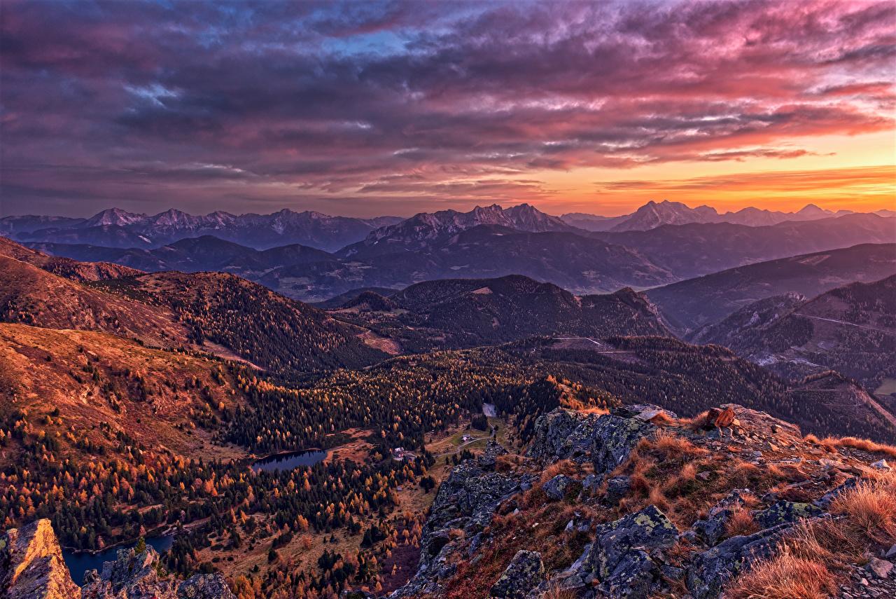 壁紙 オーストリア 山 朝焼けと日没 風景写真 アルプス山脈 自然