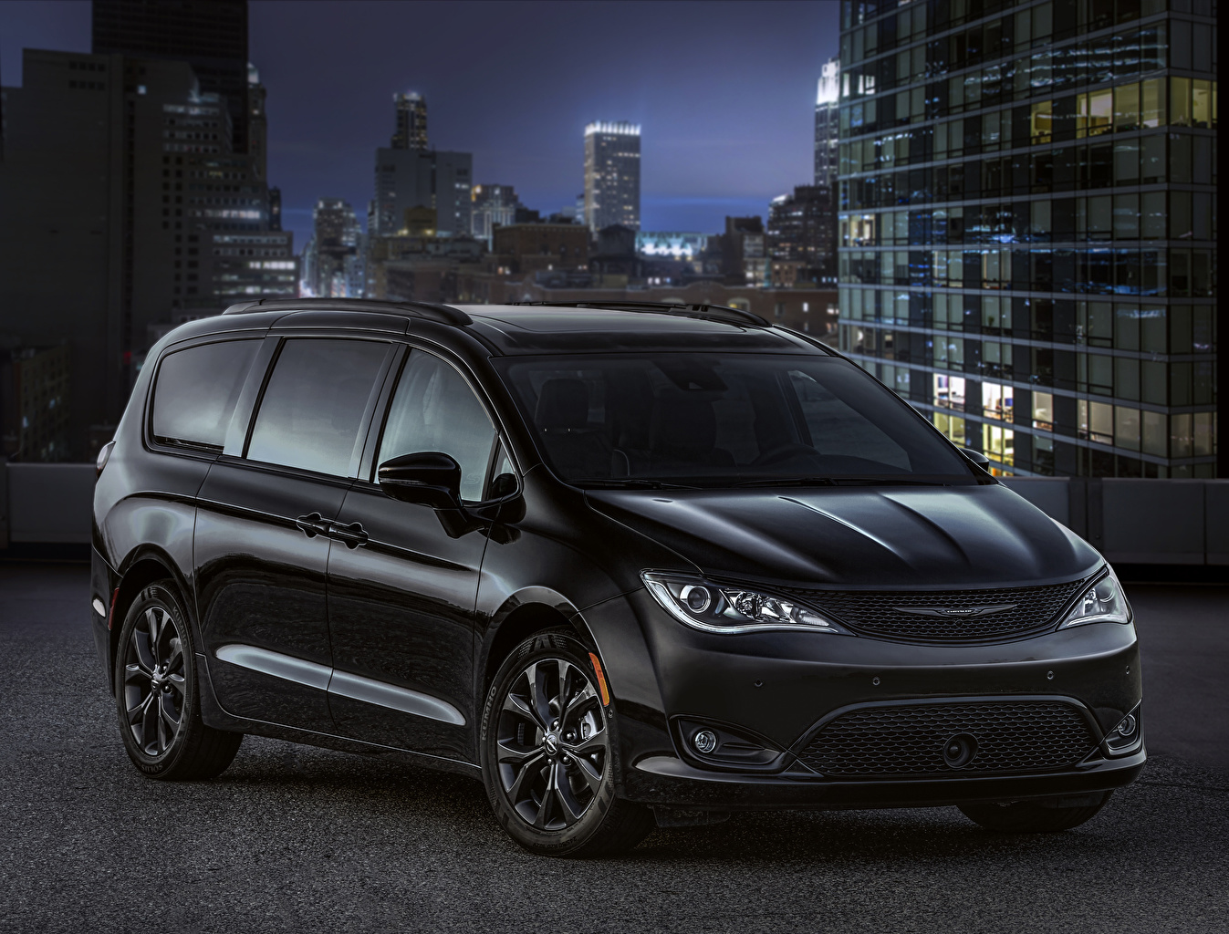 Achtergrond Chrysler 2018 Pacifica Limited S Appearance Package Zwart kleur Auto auto's automobiel