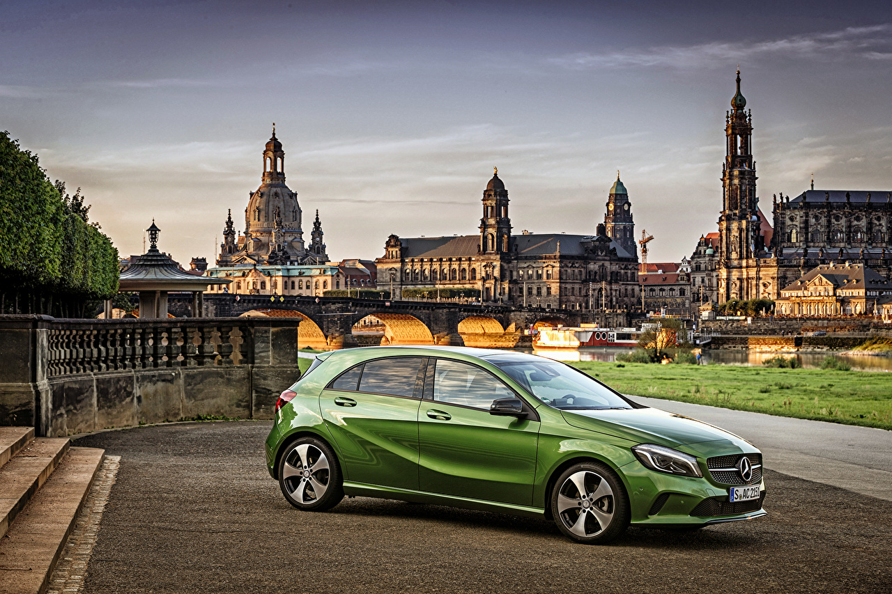 Desktop Wallpapers Mercedes-Benz 2015 A-Class A 200 W176 Green Side auto Cars automobile