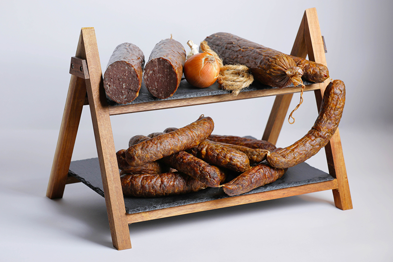 Picture Onion Sausage Food Gray background