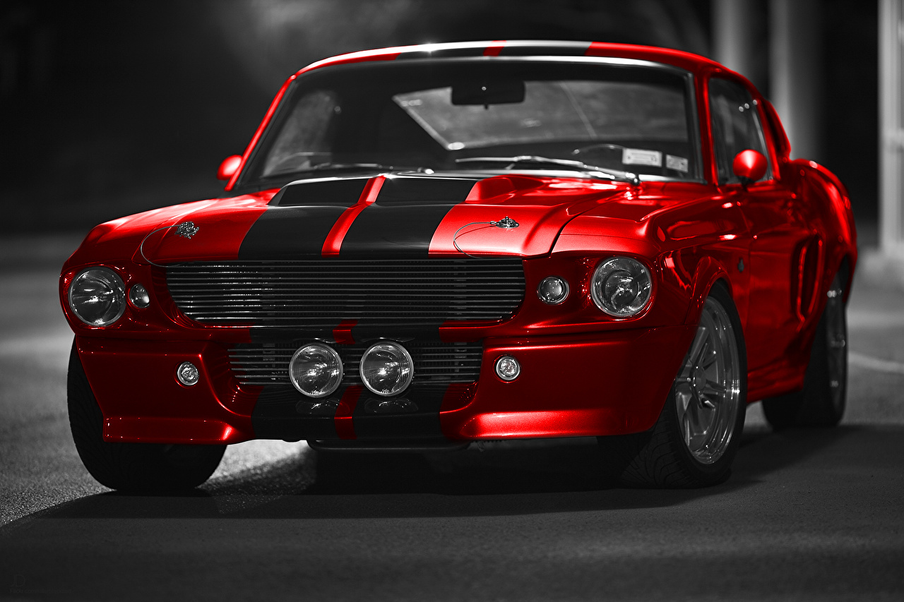 Desktop Wallpapers Ford Mustang GT500 Shelby Red Cars Front auto automobile