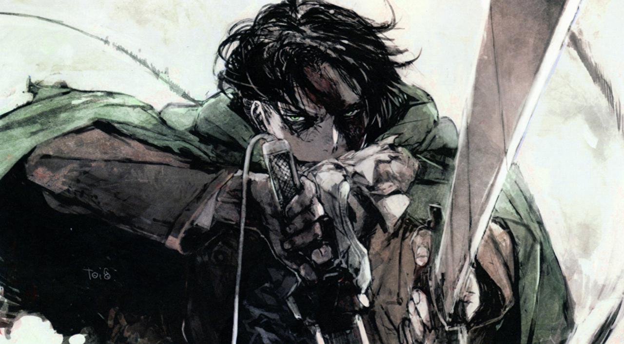Desktop Wallpapers Attack On Titan Swords Warrior Young Man Levi