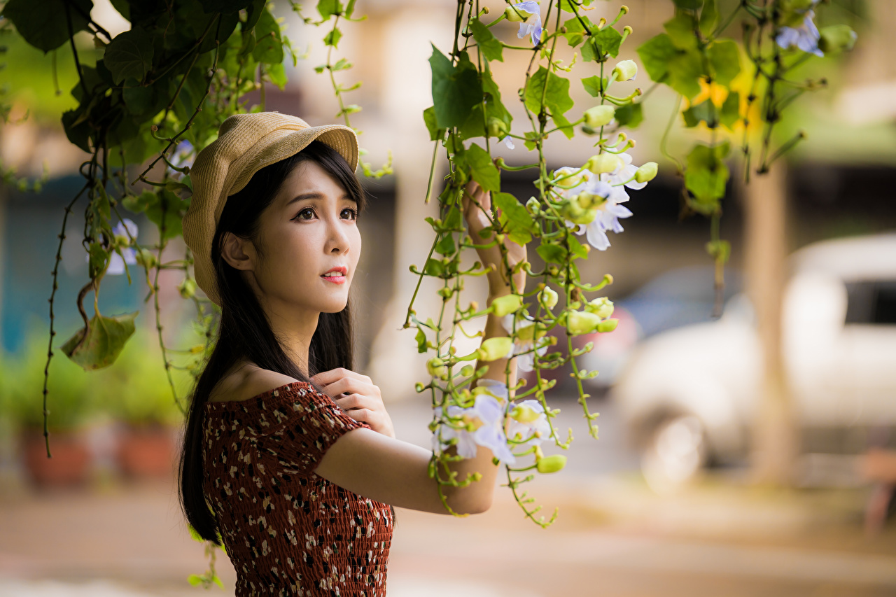 Photo blurred background Girls Asiatic Hands Branches Baseball cap frock Bokeh female young woman Asian gown Dress
