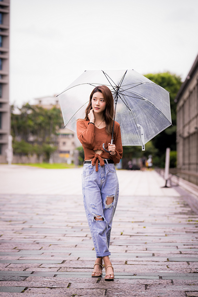 Photos blurred background Girls Jeans Asiatic Sweater Umbrella  for Mobile phone Bokeh female young woman Asian parasol