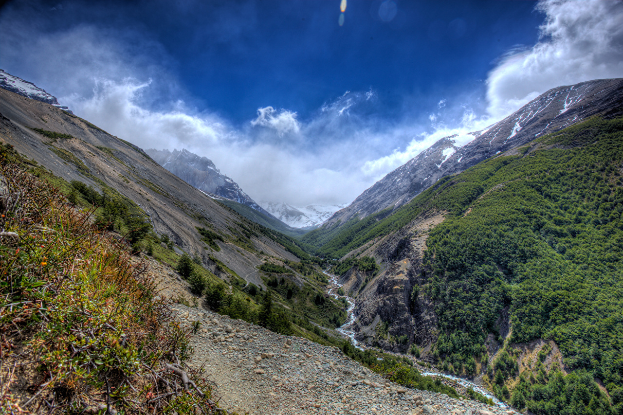 Image Chile Torres del Paine National Park Nature Stream Mountains Parks