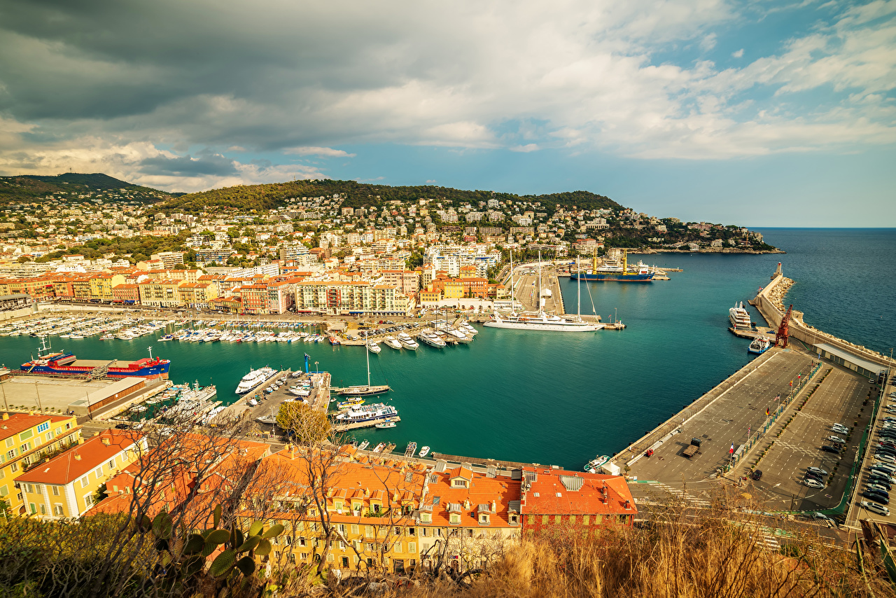 Picture France Nice Bay Pier Coast Houses Cities Berth Marinas Building