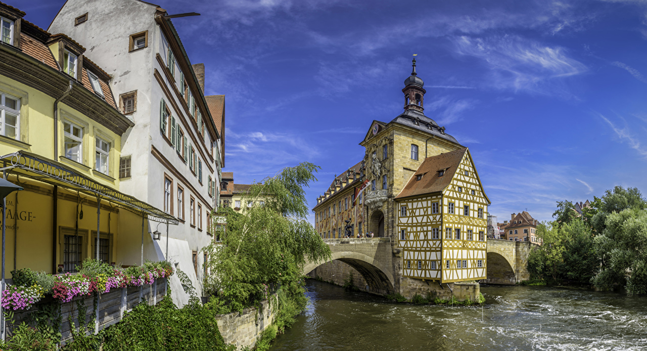 Photo Bavaria Germany Bamberg bridge Rivers Cities Building Bridges river Houses