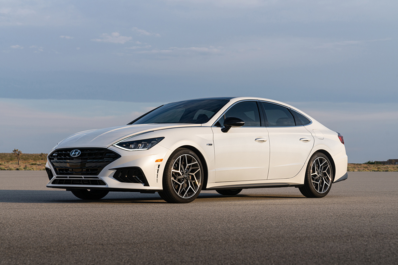 Pictures Hyundai Sonata N Line (DN8), 2020 White auto Metallic Cars automobile