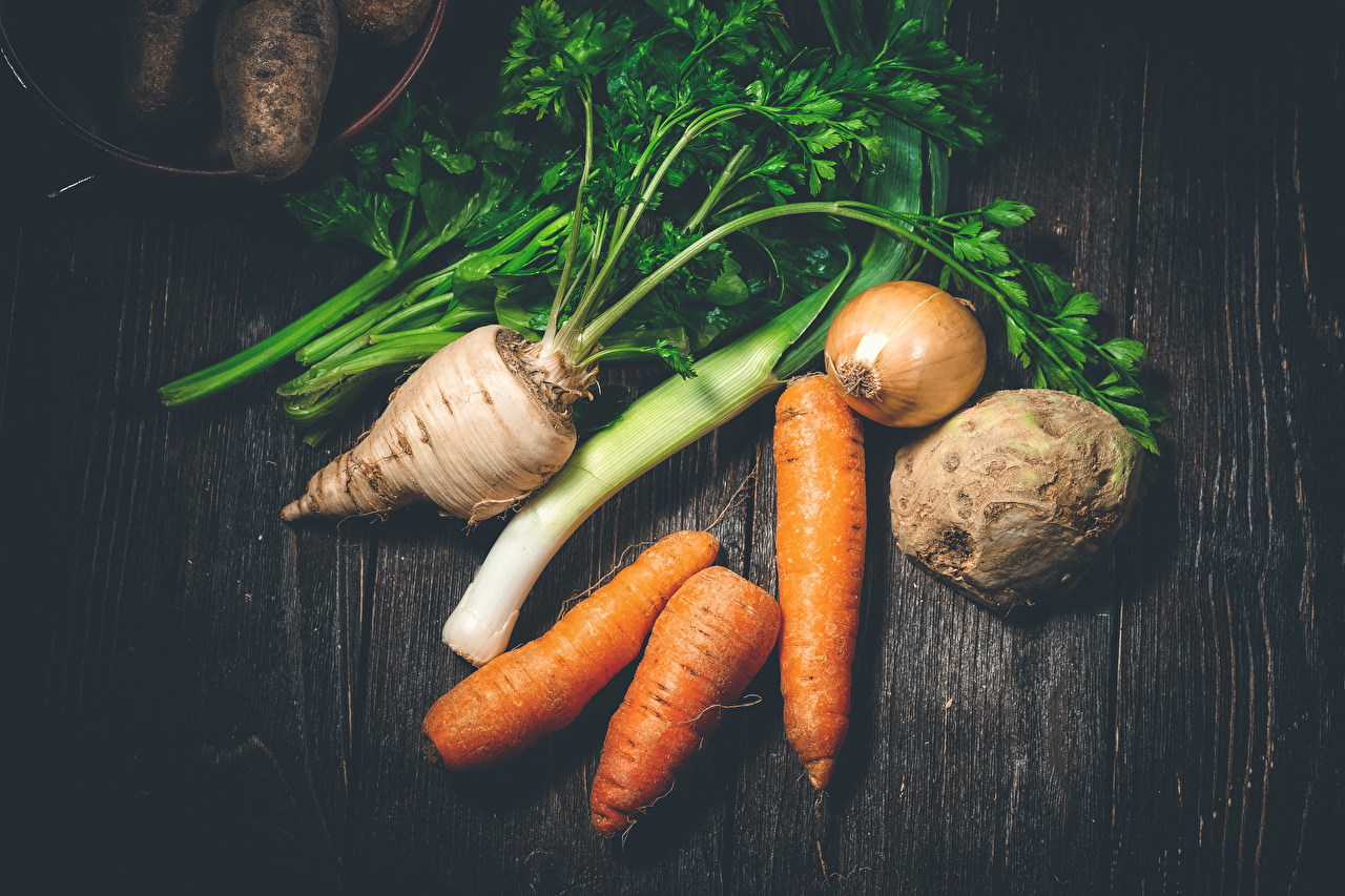 Picture Onion Carrots Food Vegetables Wood planks boards