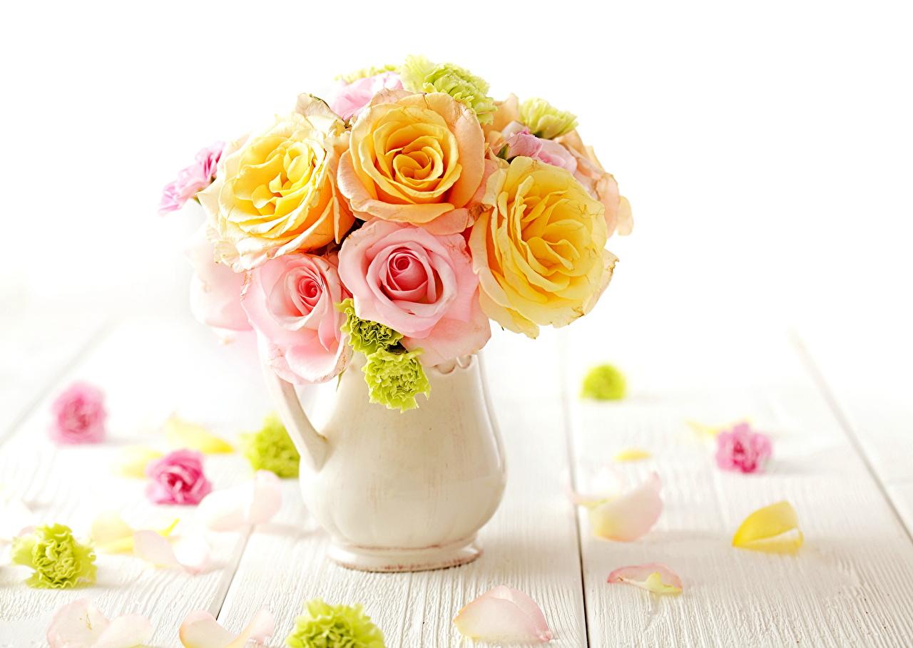 壁紙 バラ ブーケ クローズアップ 花びら 花瓶 白背景 花