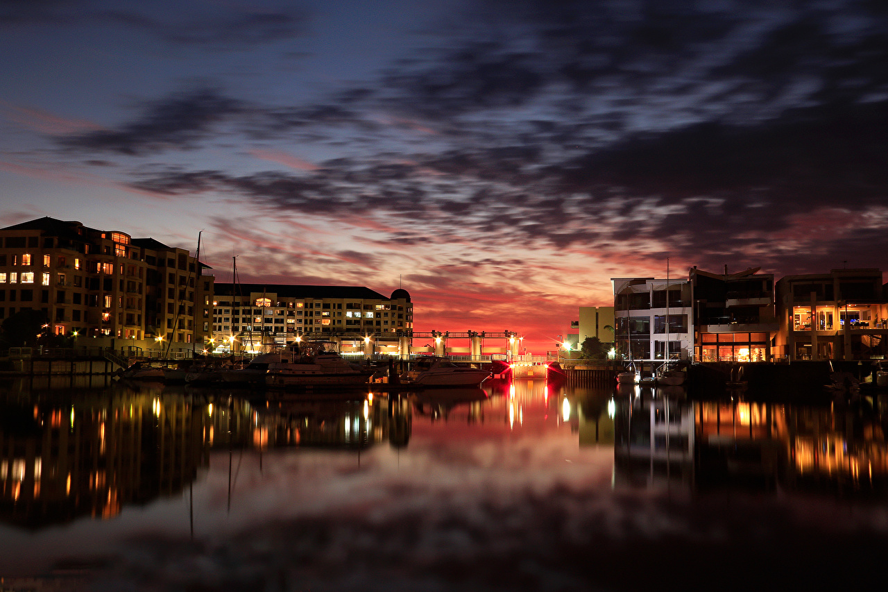 Images Australia Glenelg Adelaide Pier Night Rivers Cities river Berth Marinas night time