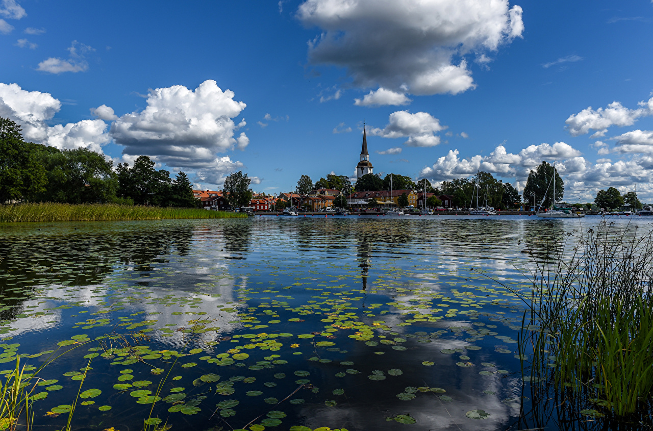 Fotos Schweden Strangnas Himmel Flusse Wolke Städte Gebäude Haus