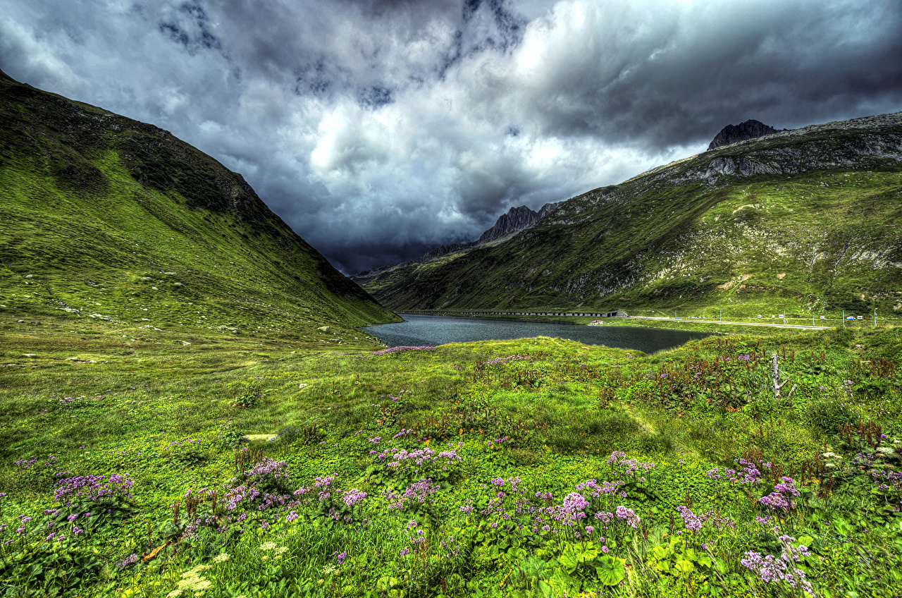 Bakgrunnsbilder til skrivebordet Sveits Lake Oberalp HDR Fjell Natur Innsjø Gress Skyer