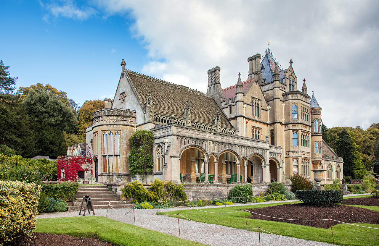 Image United Kingdom Tyntesfield House Wraxall Stairs Mansion Lawn Houses Cities Design stairway staircase Building