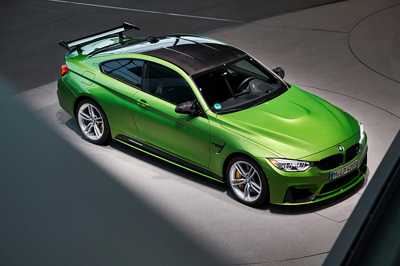 Picture BMW 2014-16 M4 Coupe M Performance Accessories Worldwide Yellow green Cars From above lime color auto automobile