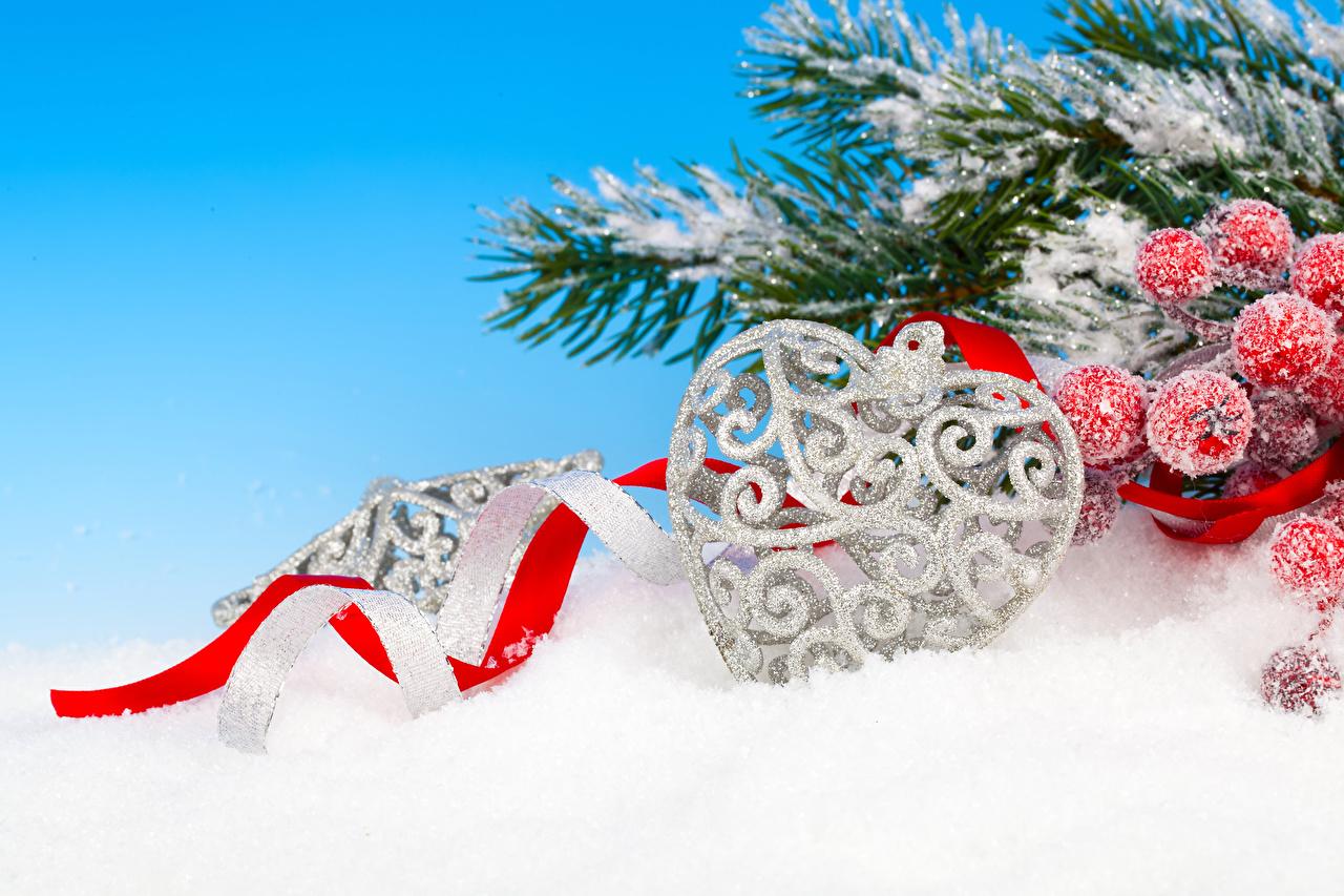 Fotos von Neujahr Herz Schnee Ast Band Beere