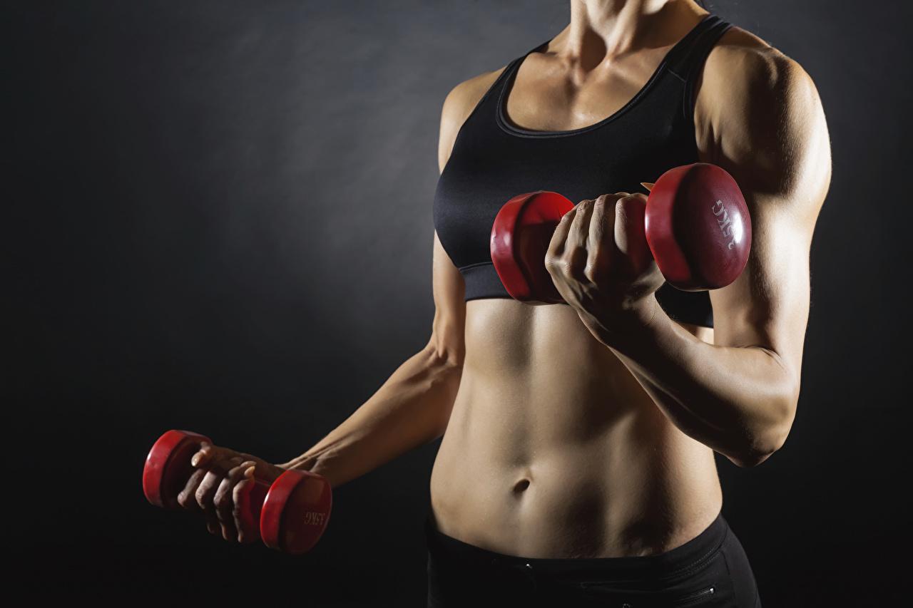 Foto Trainieren Fitness Sport Hantel Mädchens Hand Bauch Grauer Hintergrund Körperliche Aktivität Hanteln junge frau sportliches junge Frauen